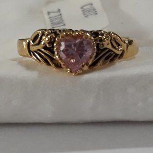 Ring Cz Pink Sapphire My Loving Heart